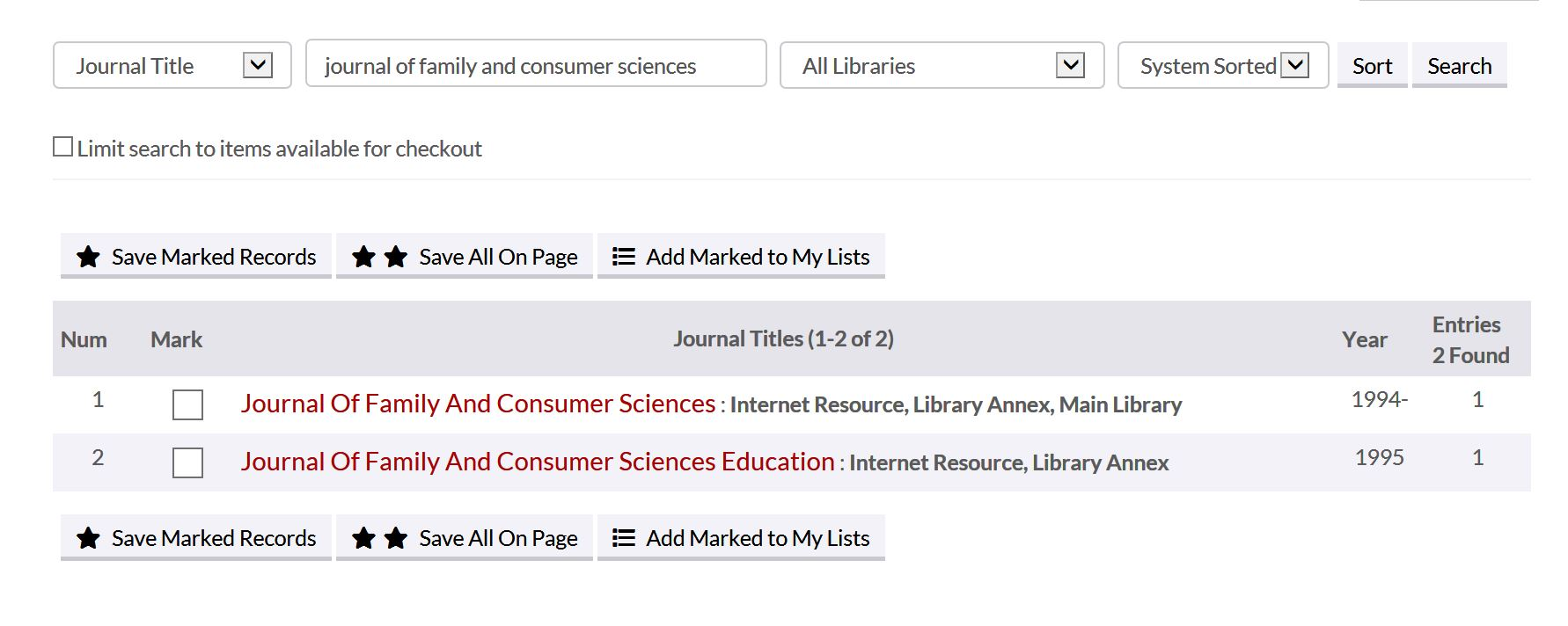 showing the two journals with similar titles in the catalog listing