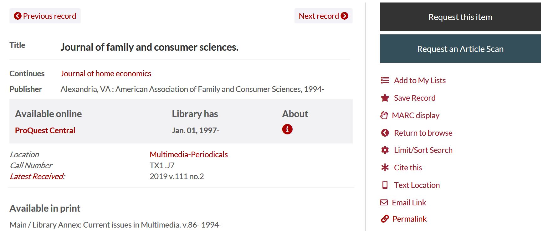 record for journal of family and consumer sciences