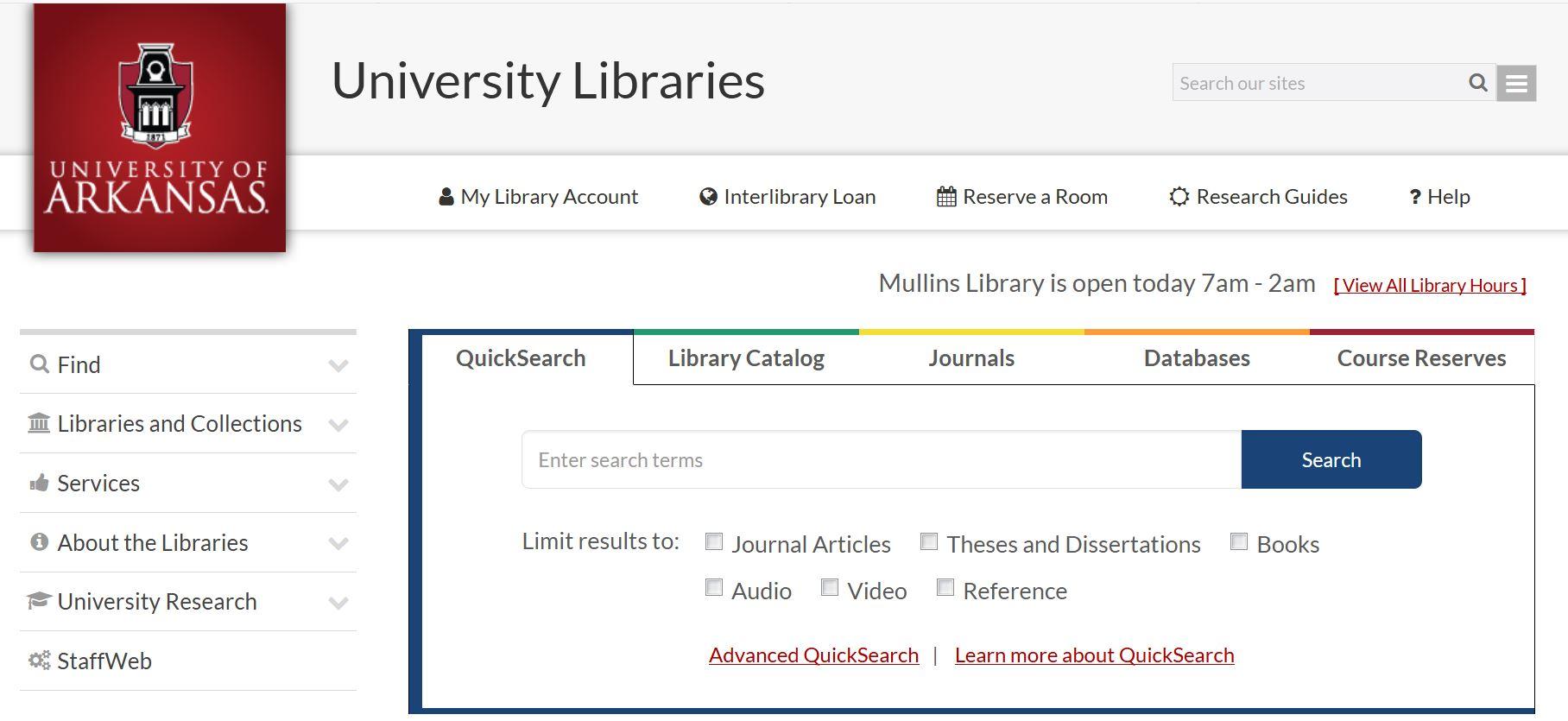 Libraries' front screenshot