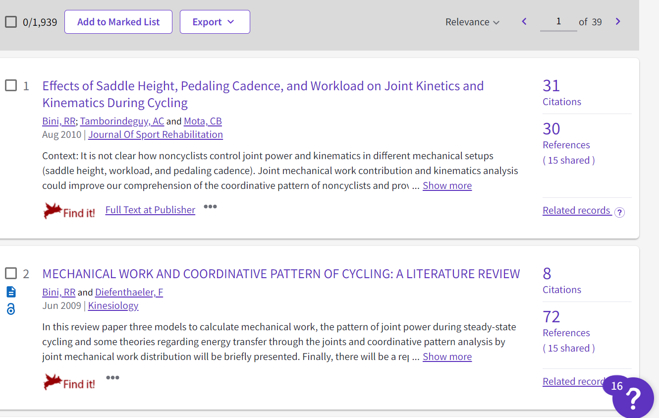 related records sharing cited works with the article about saddle height