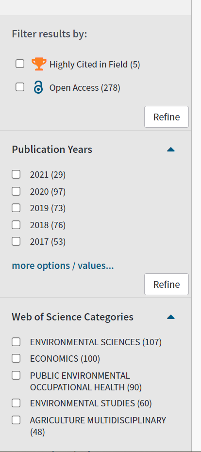 side bar showing options for refining a search in Web of Science