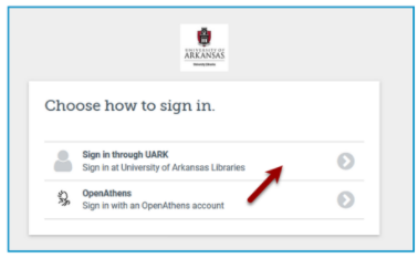 image of login choices. Use the UARK login