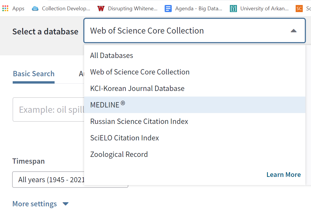 databases to choose from in Web of Science, beyond the core collection