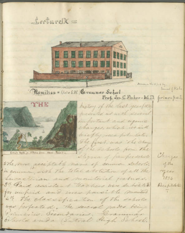"""Sketch of Hamilton Grammar School, from Lectures on the Public Schools of Philadelphia, 1849"""" by John S. Hart"""