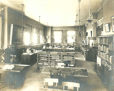 Library -- Art Reference Room, c. 1896. Pratt Institute Archives Image Collection.
