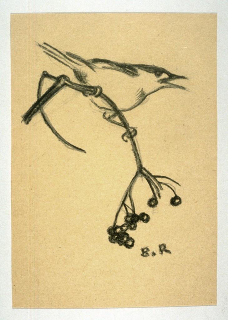 Bird on a Branch of Berries by Norbertine von Bresslern-Roth