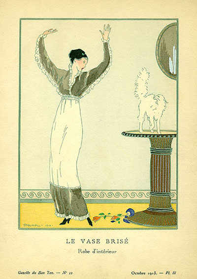"Indoor dress in white and grey: Planche III (3) in Gazette du Bon Ton, No. 12. Signed in lower left, ""Strimpl - 1912. Pratt Institute Libraries, Special Collections."