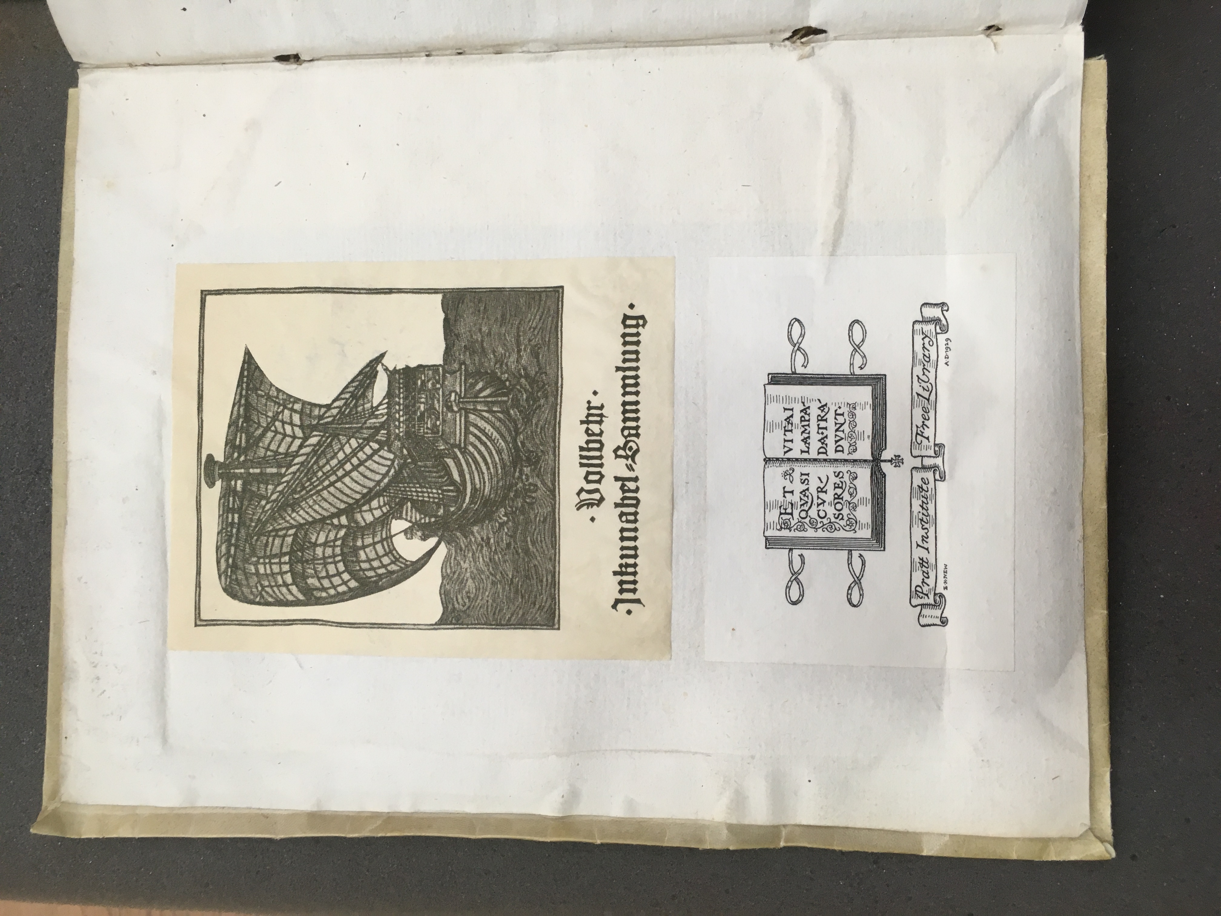 Bookplates from the inner leaf of the Chronicon showing Vollbehr's book plate and Pratt Institute Library book plate