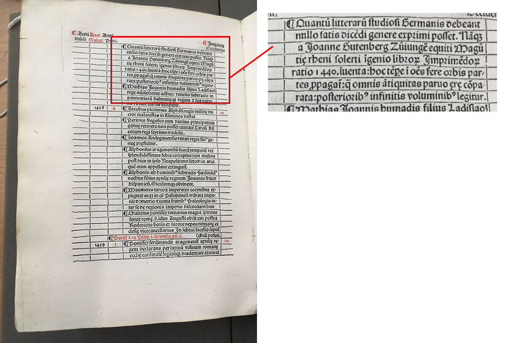 Page and detail from the Chronicon that references Johannes Gutenberg.
