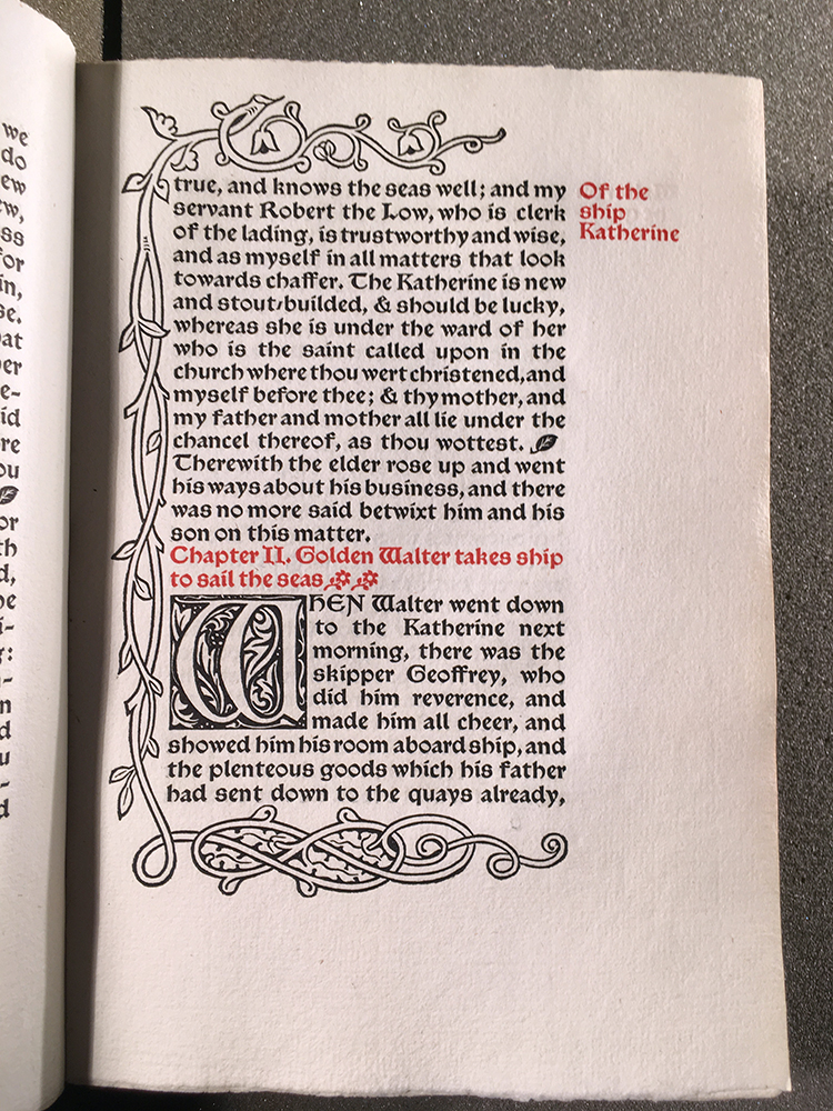 Page from the Wood Beyond the World showing an initial letter and decoration