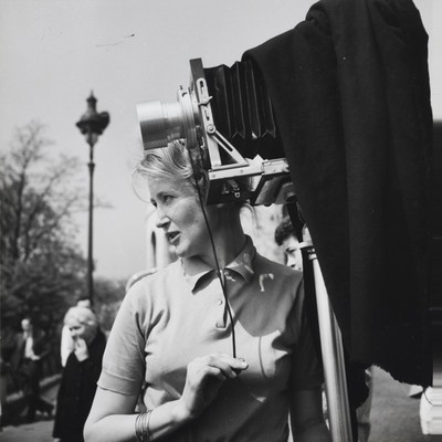 Virginia Thoren on location in Paris, 1950s.  Virginia Thoren Collection, Pratt Institute Libraries.
