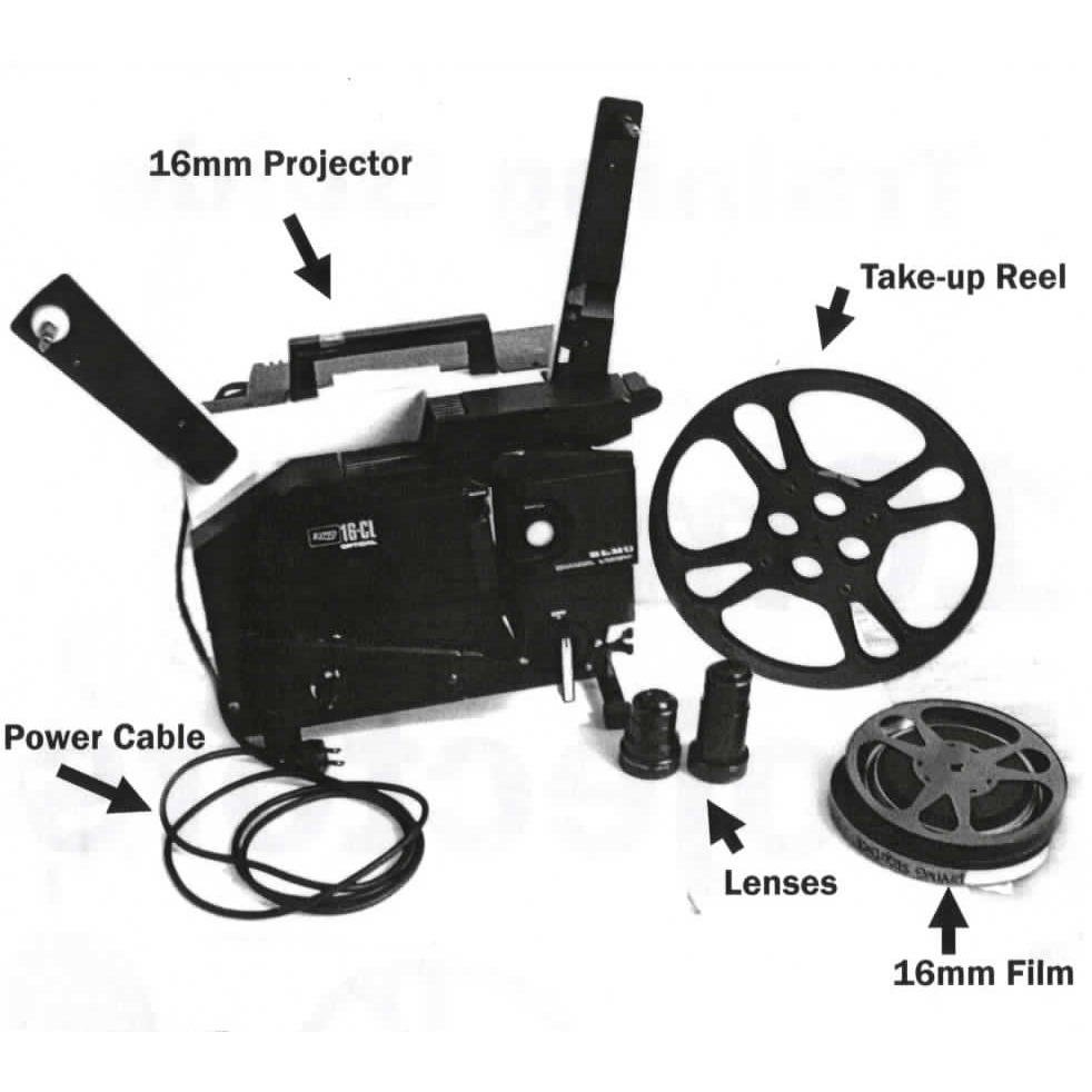 image of the components of an Elmo 16 CL projector