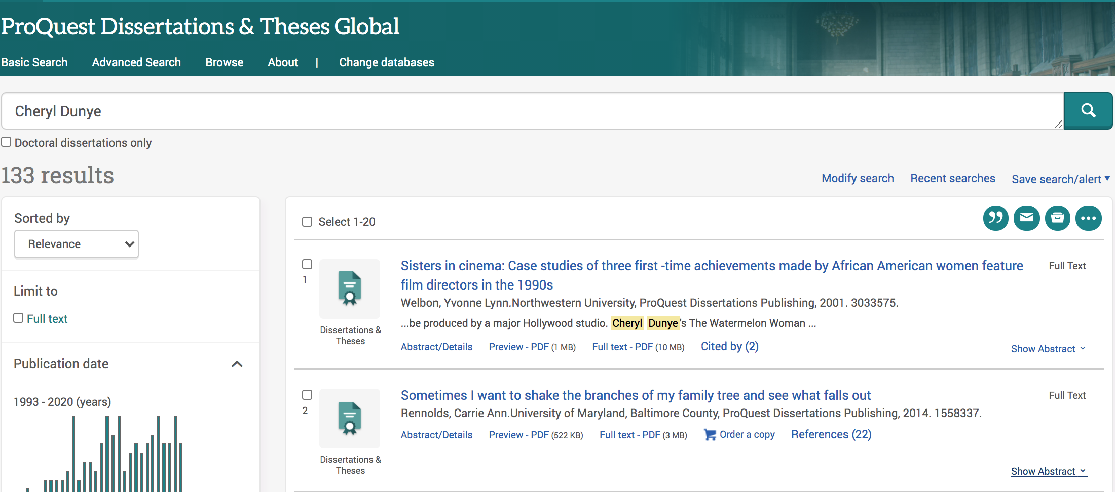 ProQuest Dissertations & Theses Global results page