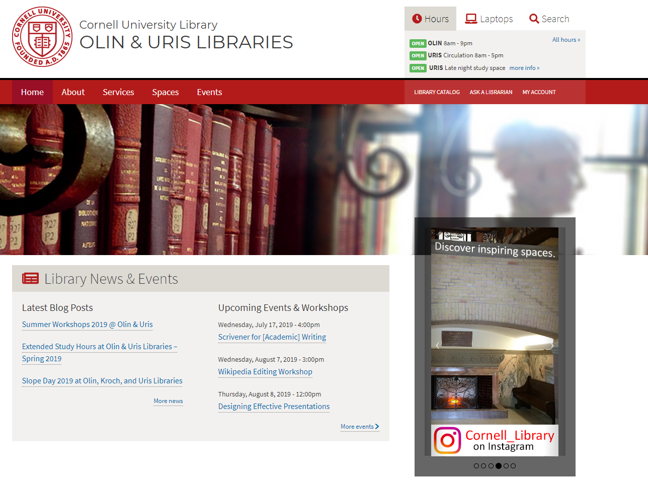 Image: screen shot of Olin and Uris Libraries' home page with link