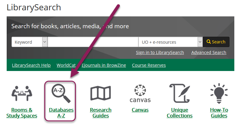 Databases A-Z link location