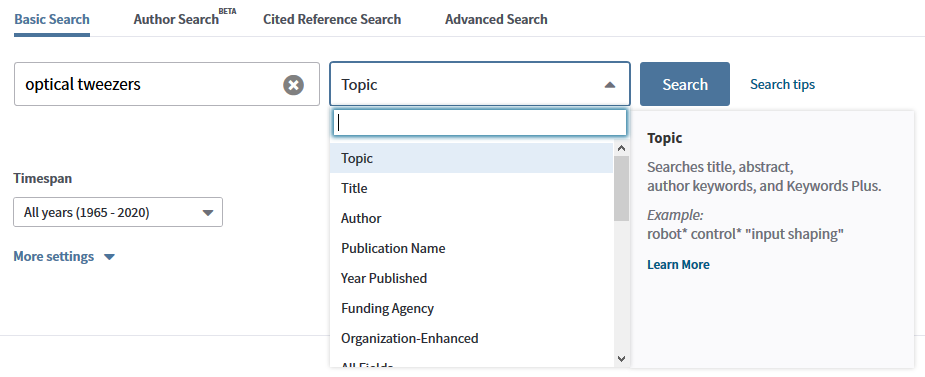 web of science search box