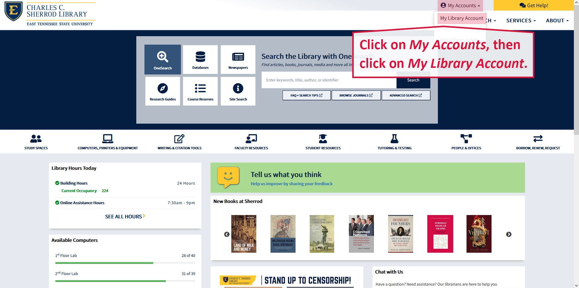 A screenshot illustrating how to access your library account from the library homepage.