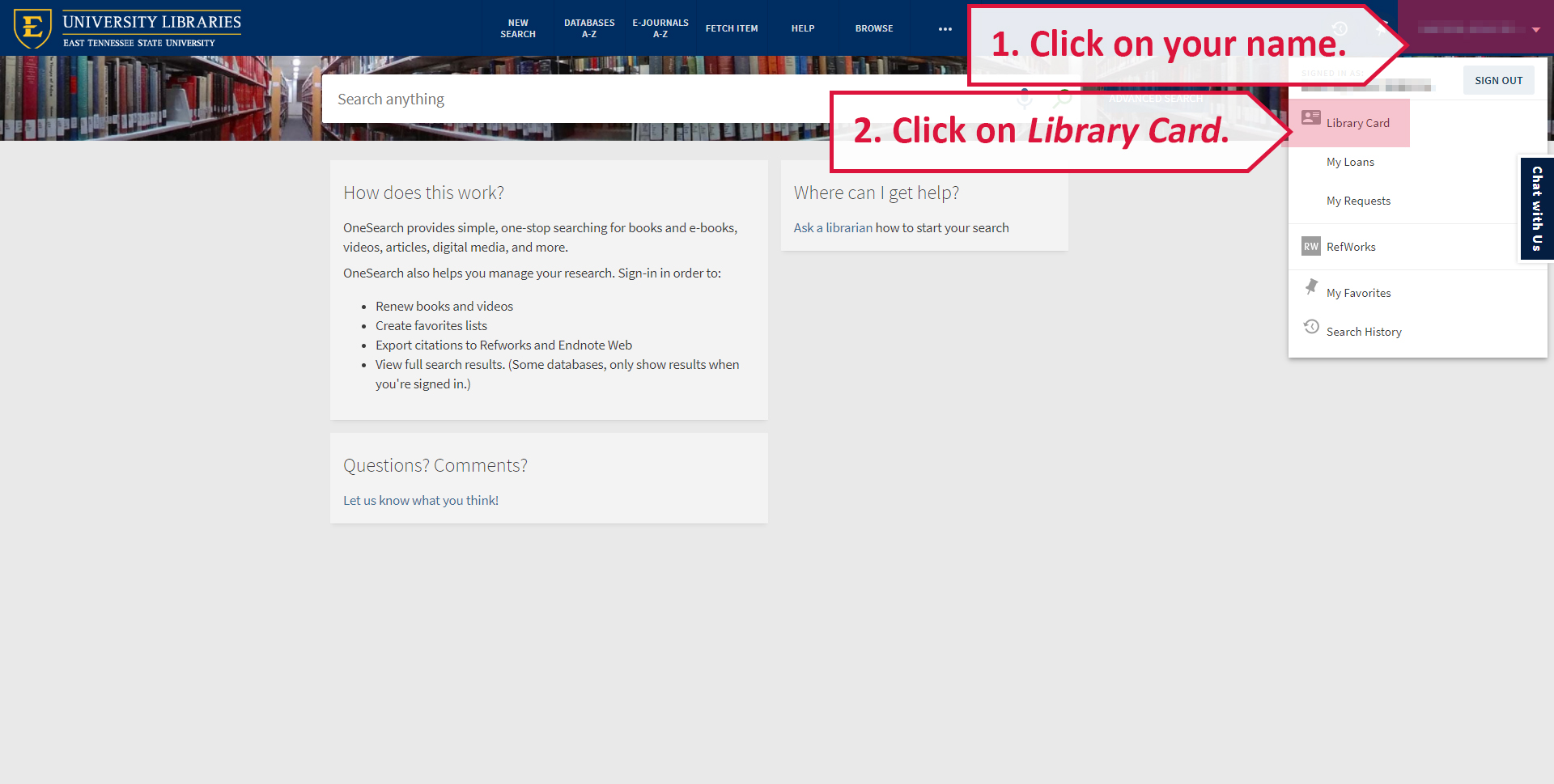 A screenshot illustrating how to access your personal details in your library account.