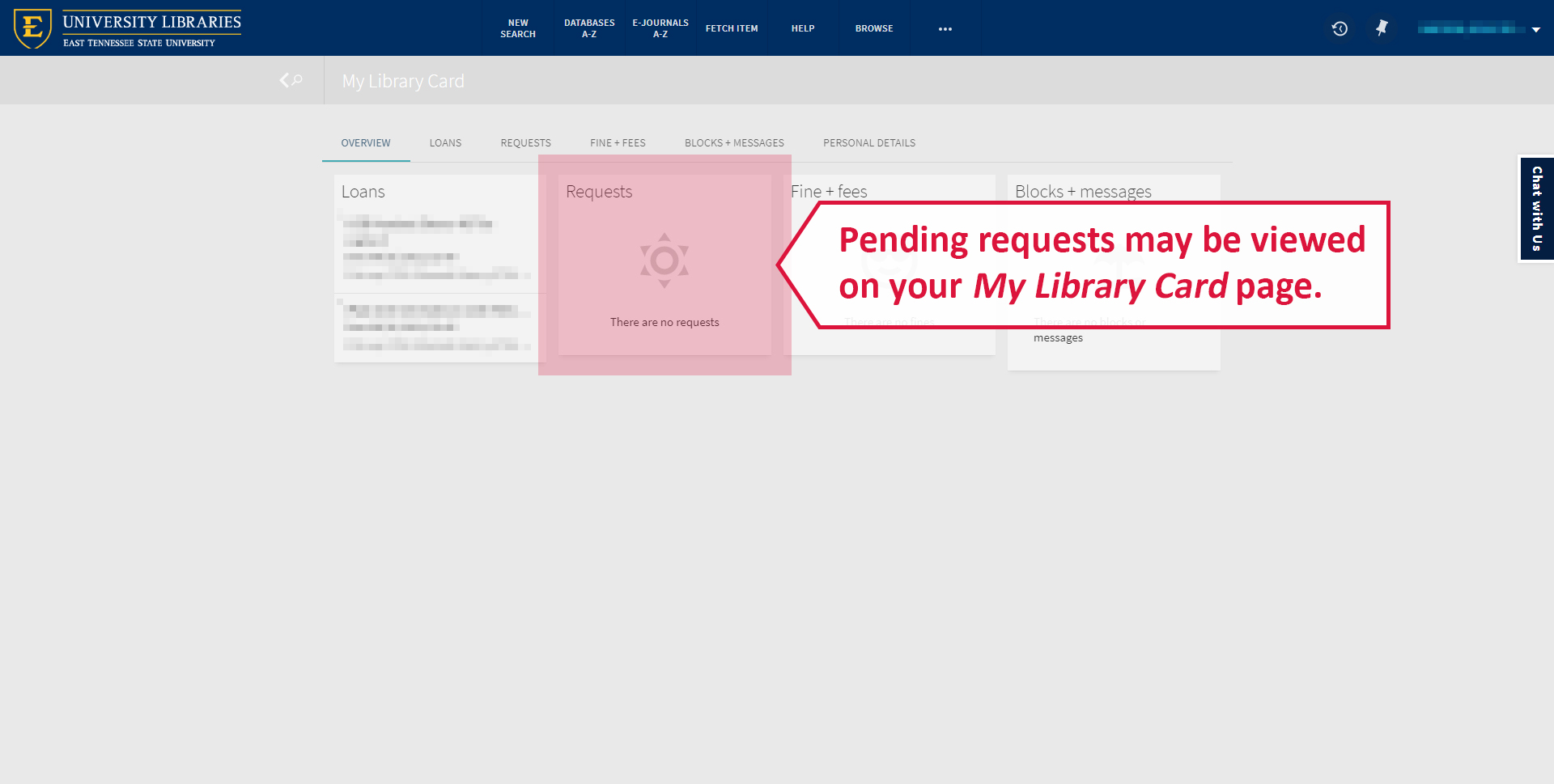 A screenshot illustrating where to view your pending requests in your library account.