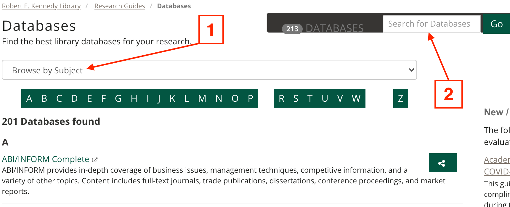 This is a screenshot of the library's list of databases with arrows pointing to the browse by subject drop-down list and search for database function both located at the top of the page.