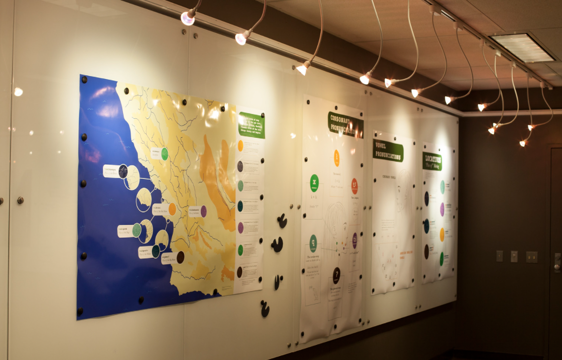 pictured is the interactive exhibit on the first floor community gallery of Kennedy Library