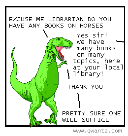 TRex asks Librarian for book on horses