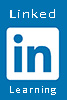 Linkedin Learning Logo featuring white text against a light blue background