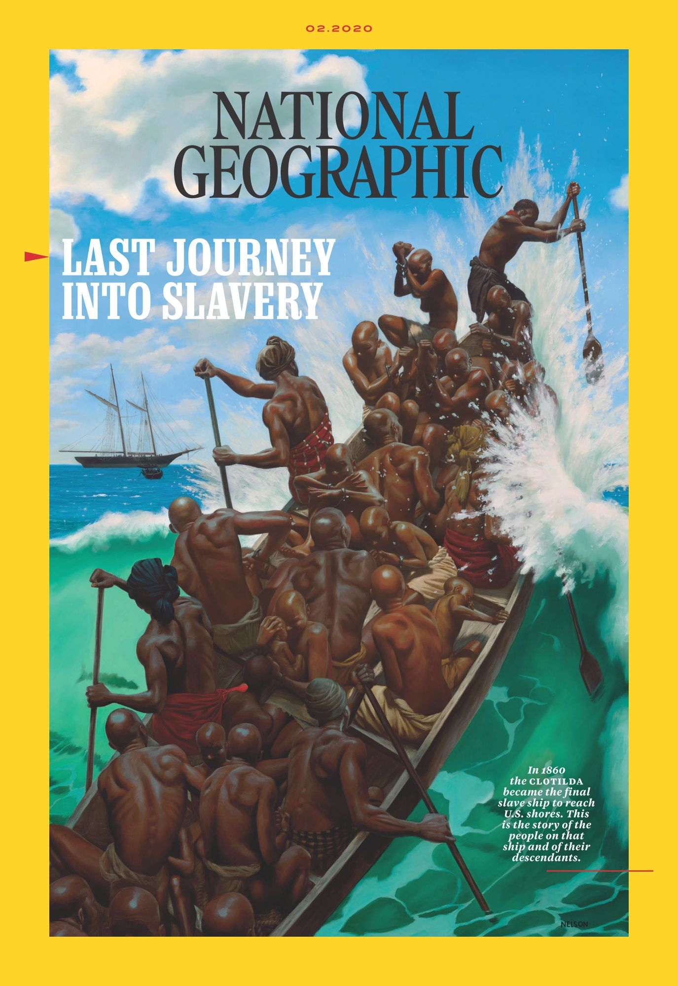 Photo of a boat full of men capsizing in the sea with a thick yellow border and words National Geographic at the top.