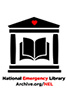 Logo for Emergnecy Library of black stock image buidling with a red heart in the middle
