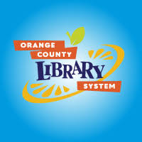 Logo for OCLS, blue background with orange slice over it and words Orange County Library System
