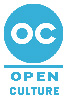 Logo image for Open Culture featuring letters OC in light blue lettering against a white background