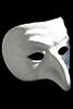 White opera mask against a black background