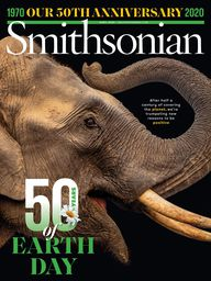 Magzine cover of Smithsonian Magazine for April 2020 features a photograph of an elephant.