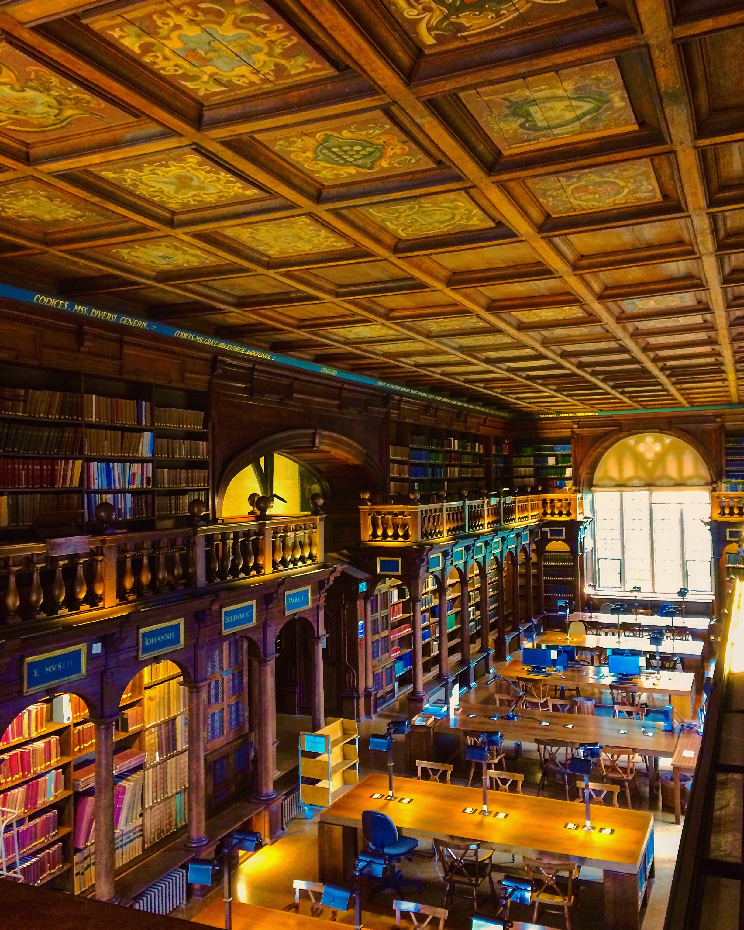 Image of old wooden library interior featuring wooden bookcases, furniture, and detailed ceilings