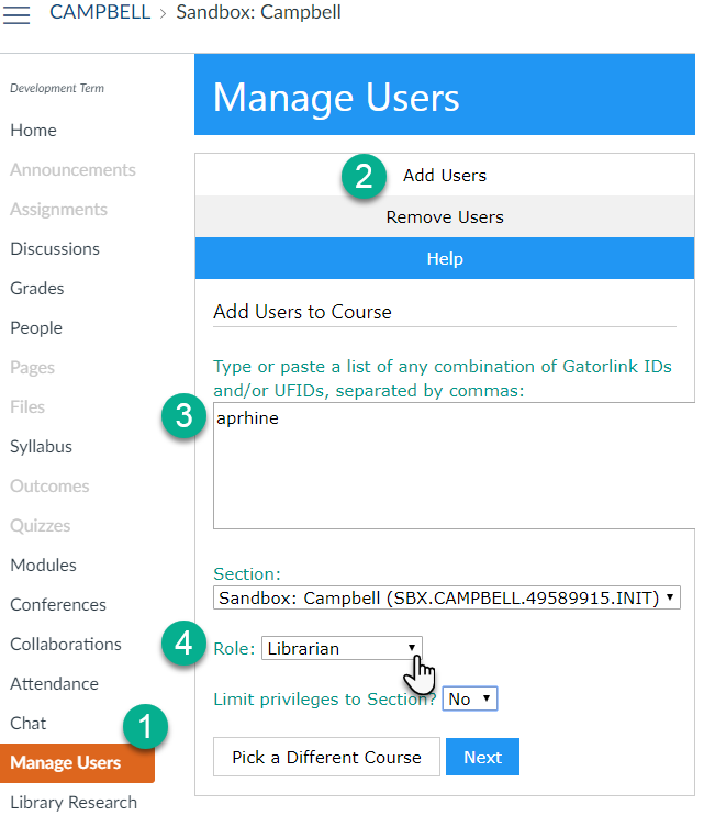 Select manage users, add users, enter id or gatorlink, then select librarian role