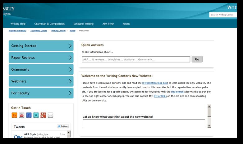 Writing Center Website Screenshot