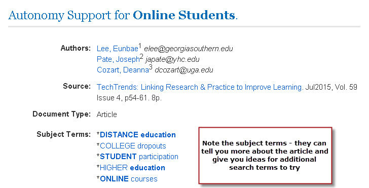 Subject terms on an article citation page