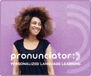 A woman of color looking to her left, with the Pronunciator logo near the bottom