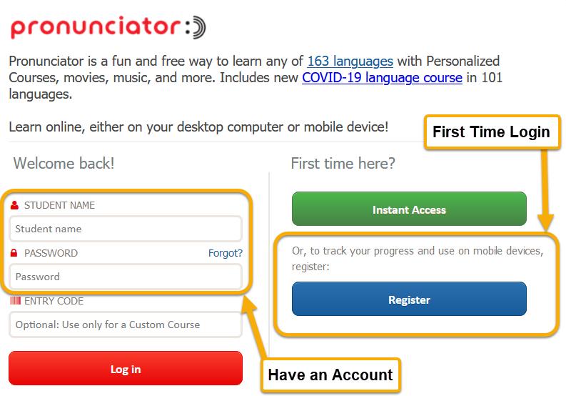 screenshot of Pronunciator login page