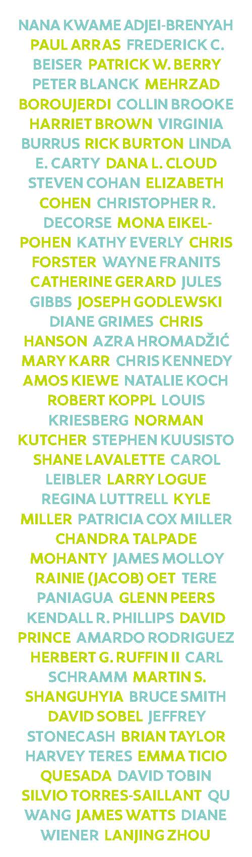 Back of Bookmark:Names of all authors for this year's books