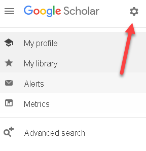 Google Scholar gear icon at top of page, to the left of Google Scholar words