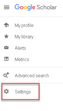 Google Scholar settings link and icon at the bottom of the list