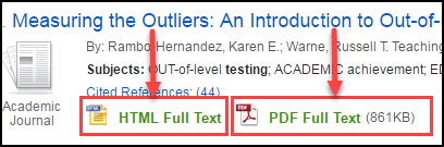 article with html and pdf format options