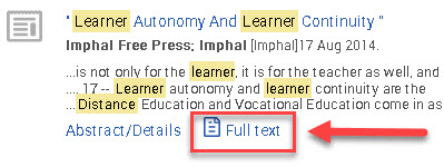 proquest database result shows only full text html option