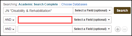 "Database search with JN ""Disability & Rehabilitation"" in first search box"