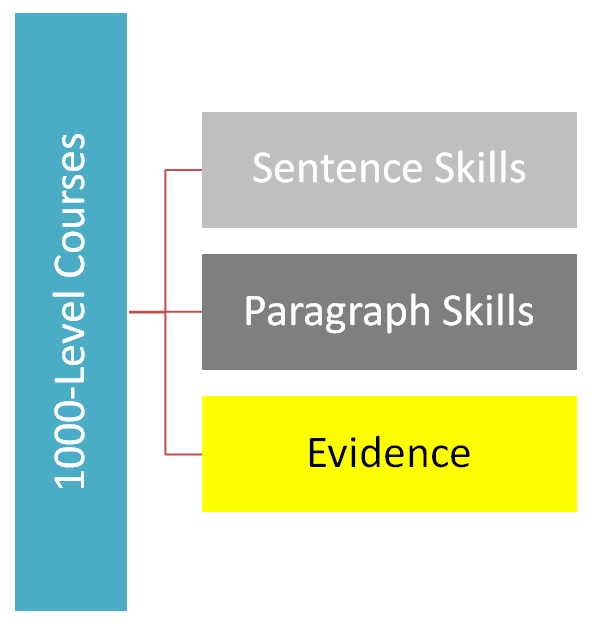 The requirements for writing at the 1000 course level: Sentence skills, paragraphs skills, evidence.