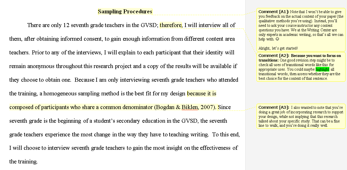 Image showing a Writing Center review of an EdD student's major assessment.
