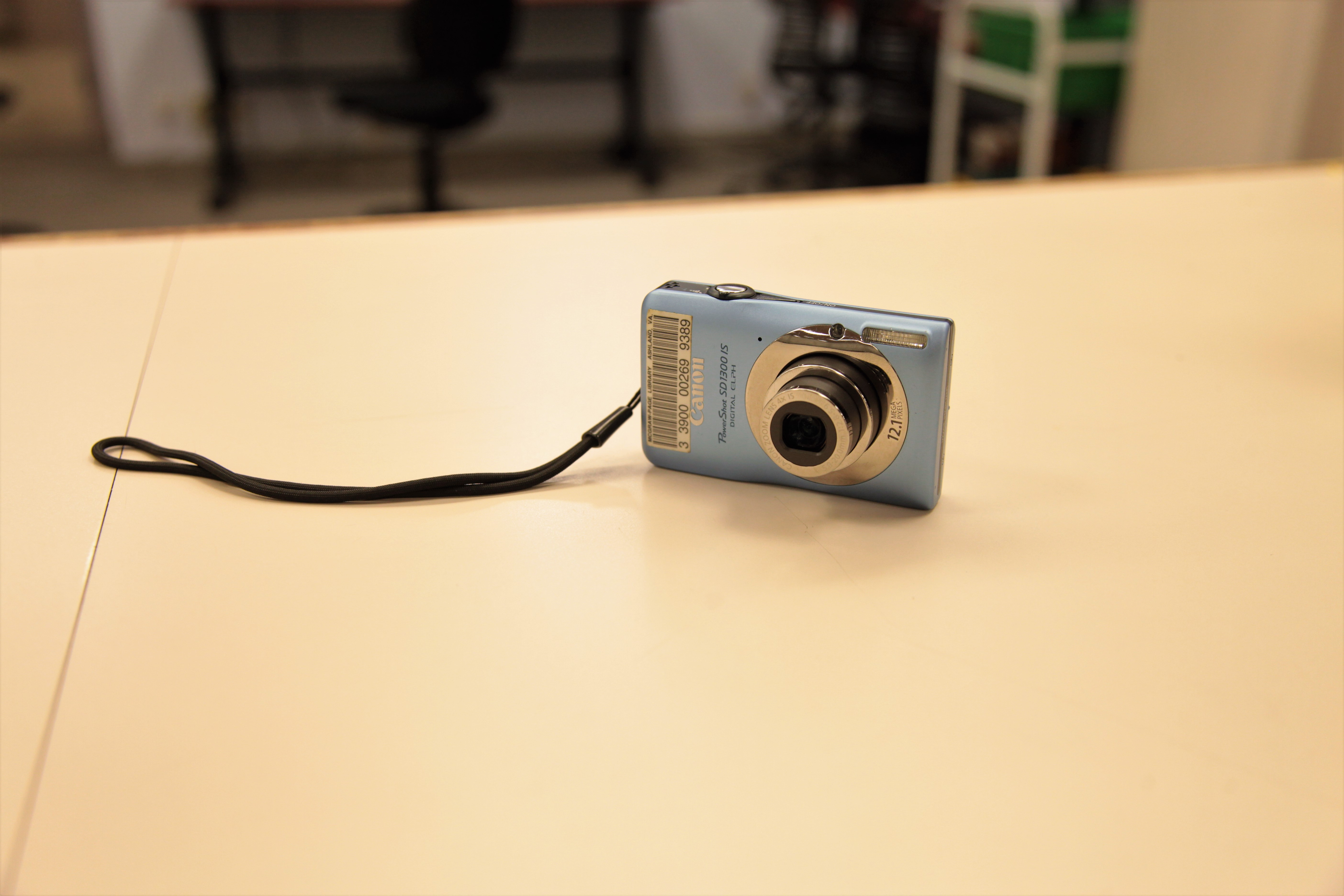 A digital camera on a counter
