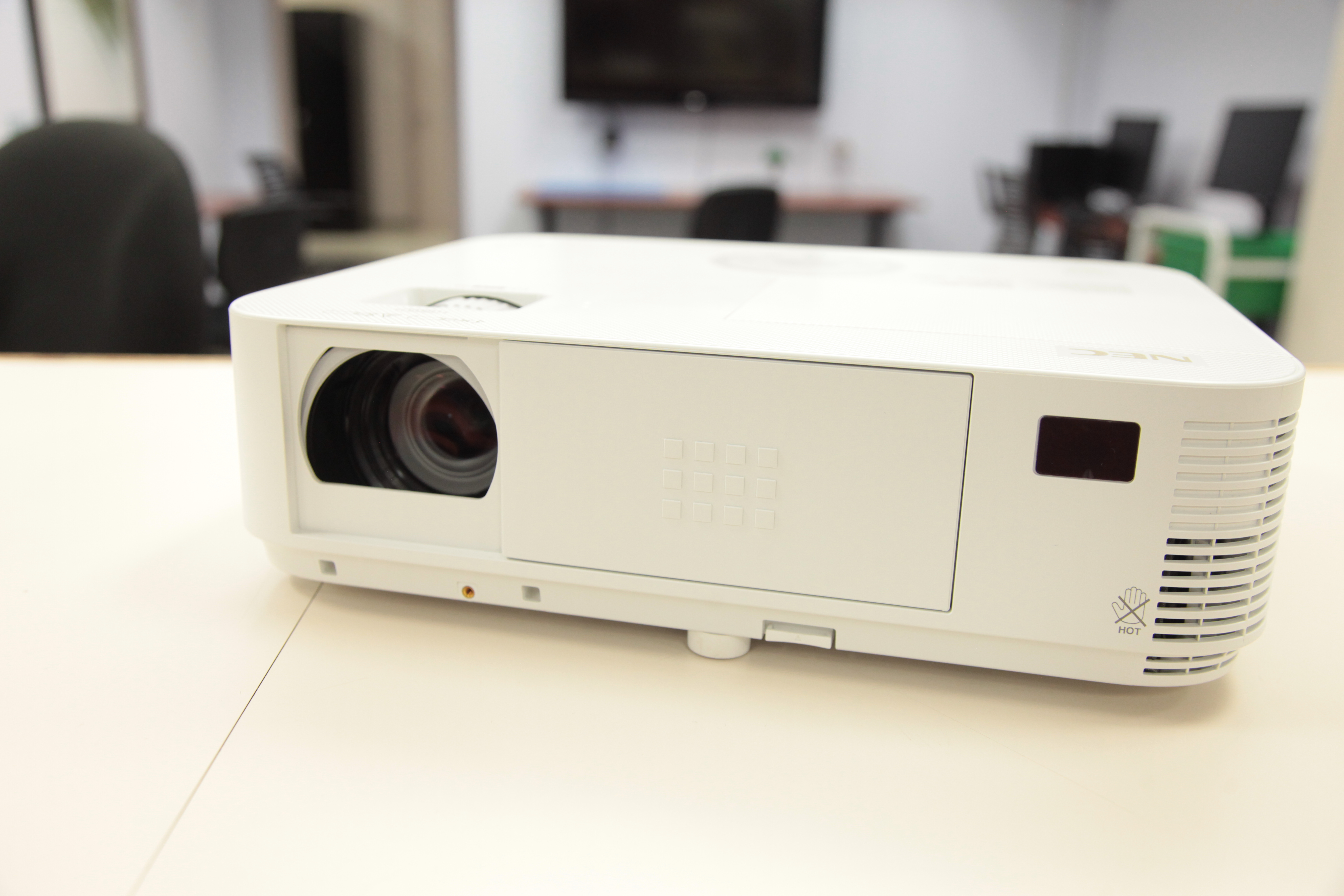 An LCD projector on a counter