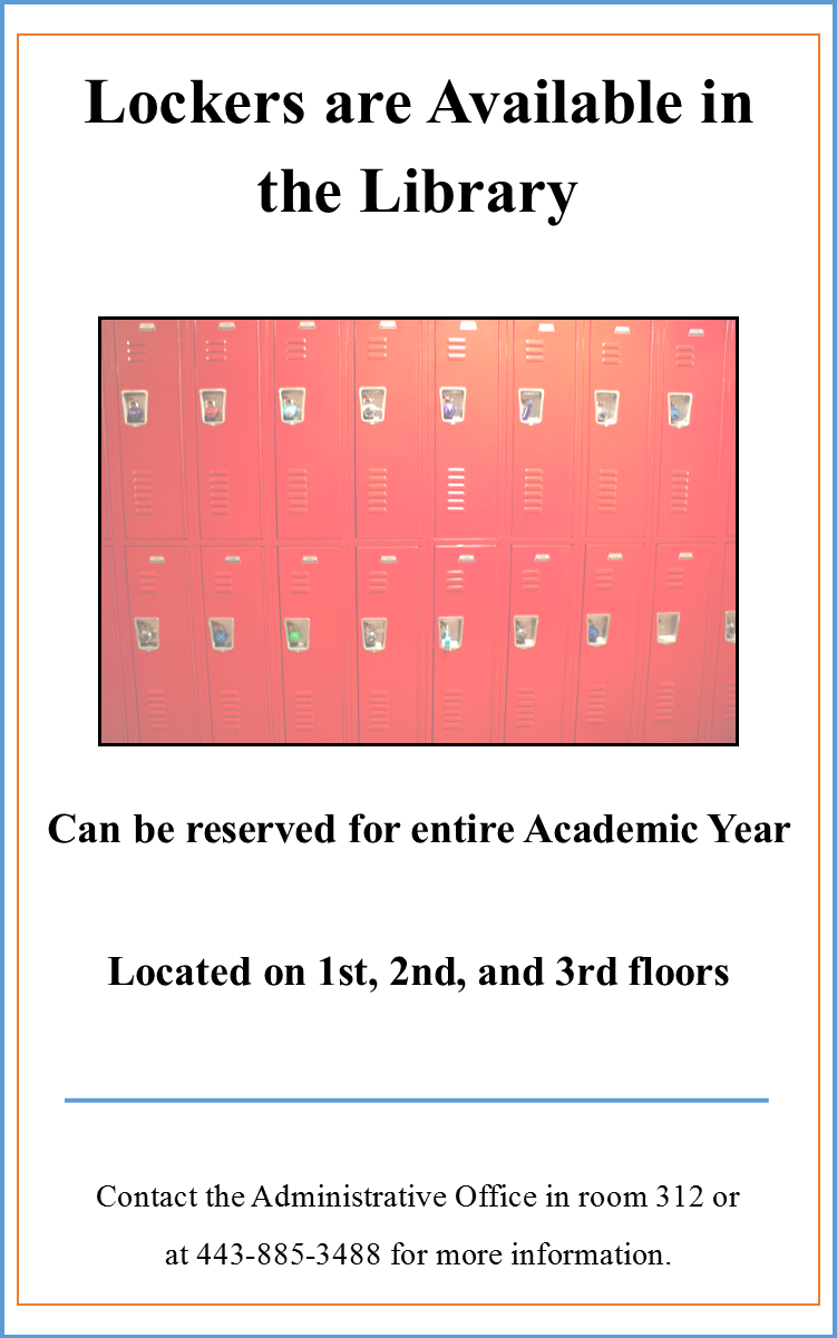 Lockers are available in the library